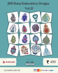 Vol-21, 200 Embroidery Butta Designs for Singer Machine, Instant Download