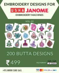 Vol-22, 200 Embroidery Butta Designs for Usha Janome Machine, Instant Download