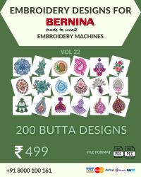Vol-22, 200 Embroidery Butta Designs for Bernina Machine, Instant Download