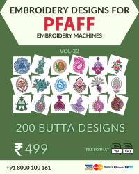 Vol-22, 200 Embroidery Butta Designs for Pfaff Machine, Instant Download