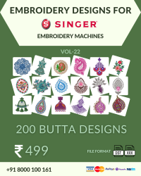Vol-22, 200 Embroidery Butta Designs for Singer Machine, Instant Download