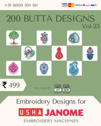 Vol-23, 200 Embroidery Butta Designs for Usha Janome Machine, Instant Download