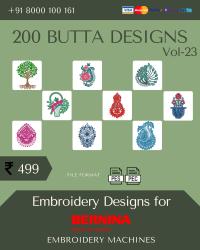 Vol-23, 200 Embroidery Butta Designs for Bernina Machine, Instant Download