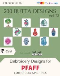 Vol-23, 200 Embroidery Butta Designs for Pfaff Machine, Instant Download