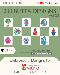 Vol-23, 200 Embroidery Butta Designs for Husqvarna Viking Machine, Instant Download