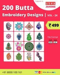 Vol-24, 200 Embroidery Butta Designs for Usha Janome Machine, Instant Download