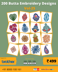 Vol-25, 200 Embroidery Butta Designs for Brother Machine, Instant Download