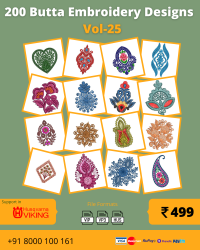 Vol-25, 200 Embroidery Butta Designs for Husqvarna Viking Machine, Instant Download
