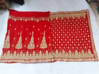 red saree embroidery design