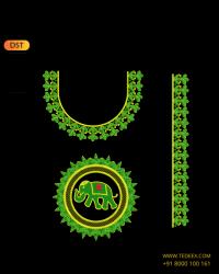 Elephant Style  Deep Neck Blouse Embroidery Design