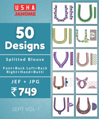 50 Blouse Designs pack for Usha-Janome Embroidery Machine