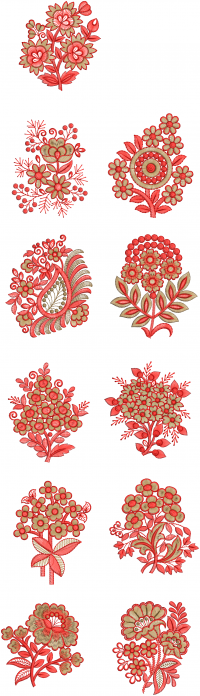 11 different style butta embroidery design
