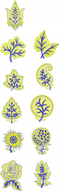11 flower  style butta embroidery design