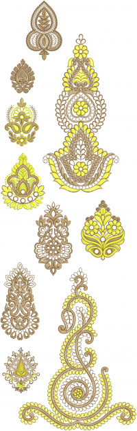 10 different style butta embroidery design