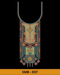 Box Neck Embroidery Design