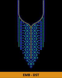 Blue Bell Neck Embroidery Design for Top