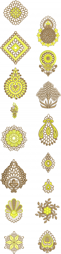 16 different style butta embroidery design