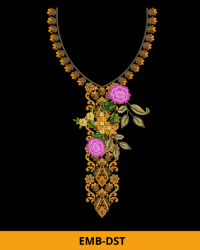 Embroidery Neck with Flower
